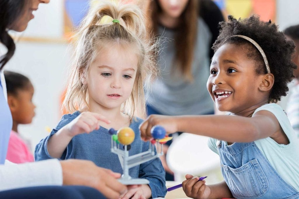 The Kids 'R' Kids exclusive STEAM Ahead® Curriculum implements various activities to develop skills in science, technology, engineering, art and math.