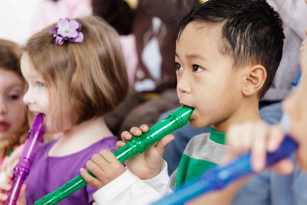 Our preschool program promotes the foundation of music by teaching kids to sing, move, listen, play instruments, and even create their own tunes.