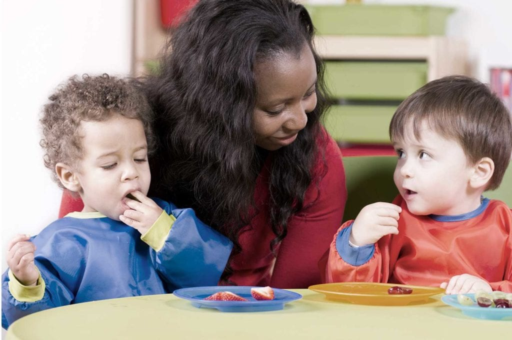 Our Toddlers learn social skills and make connections while meals and snacks are shared